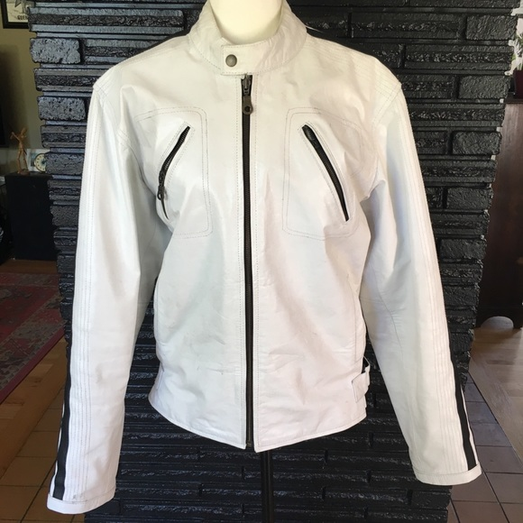 90ef46be0 Leather Jacket Master Other - Men's white real leather moto/riding jacket